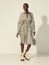 Oversized Printed Silk Dress : Dresses color Ivory