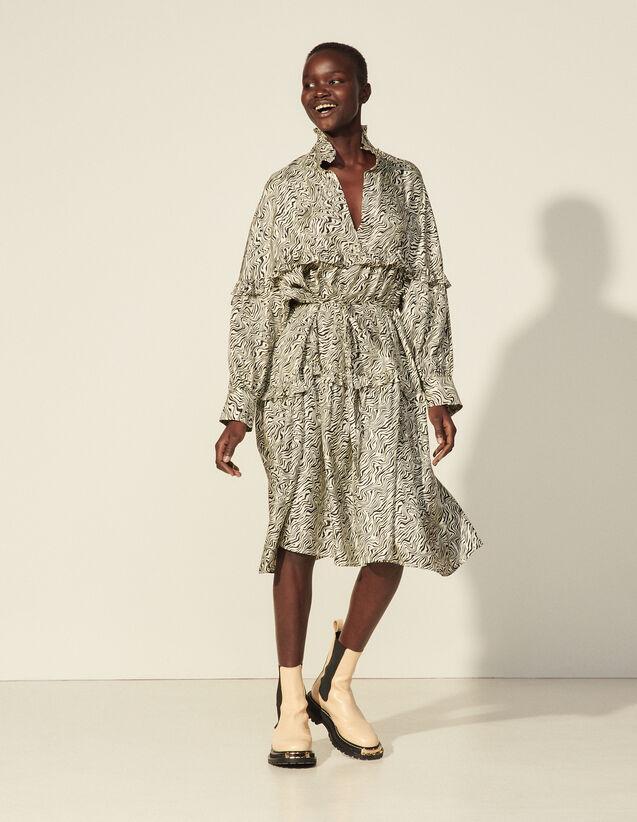 Oversized Printed Silk Dress : Dresses color Ivory