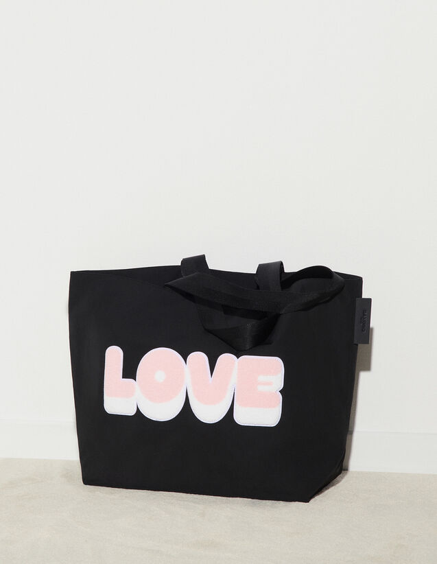 Nylon Bag With Patch : Bags color Black