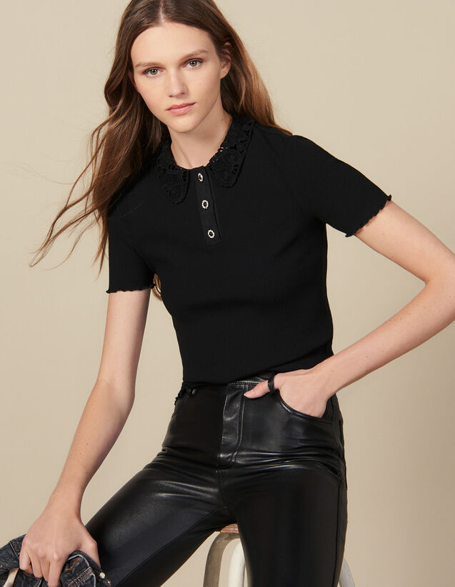 Ribbed Polo Shirt With Guipure Collar : T-shirts color Black