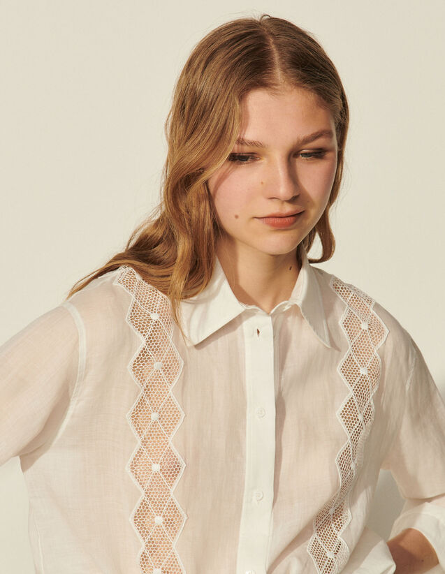 Shirt With Openwork Braid Trim : Spring Summer Collection color Ecru