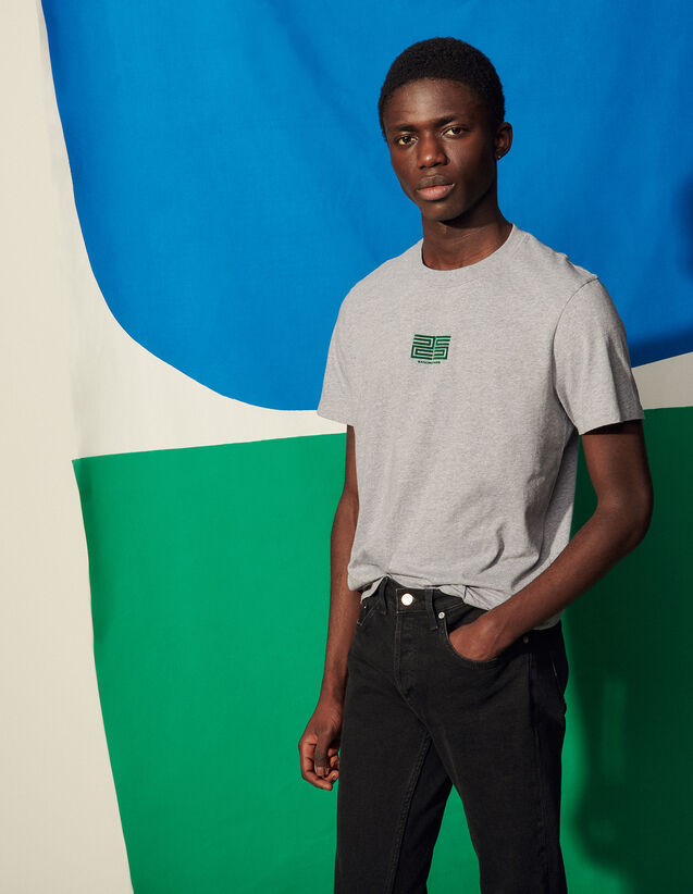 Cotton T-Shirt With Flocking : T-shirts & Polo shirts color Mocked Grey