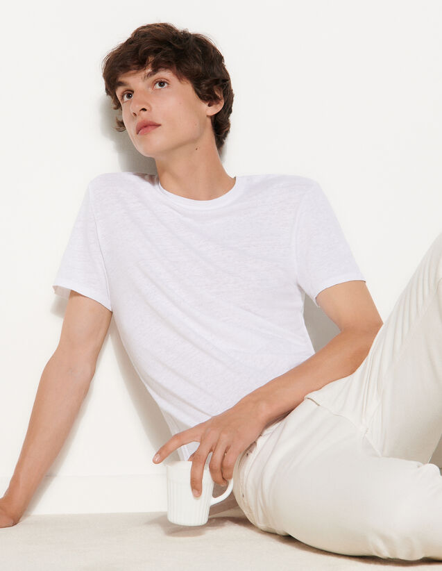 Linen T-Shirt : T-shirts & Polo shirts color white