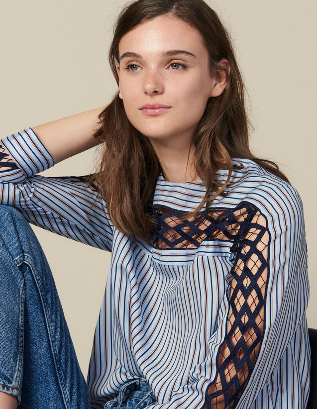 Poplin And Guipure Lace Top : Tops color Blue sky
