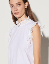 Vest Top With Ruffled Collar And Sleeves : Tops color white