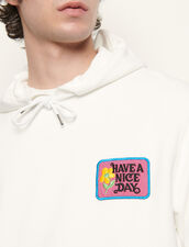 Hoodie With Embroidered Patch : Sweatshirts color white
