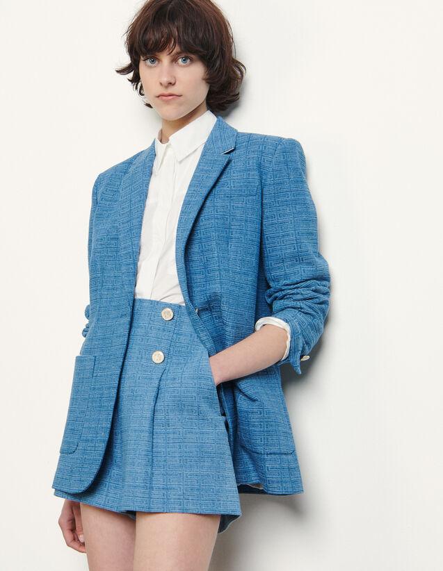 Jacquard Denim Jacket : Blazer & Jacket color Blue Jean