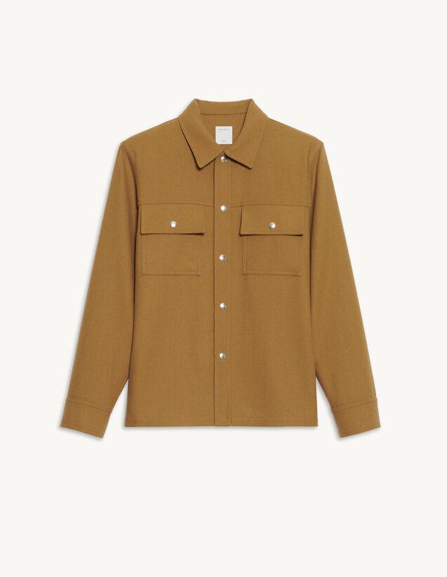Wool Overshirt : Shirts color Camel