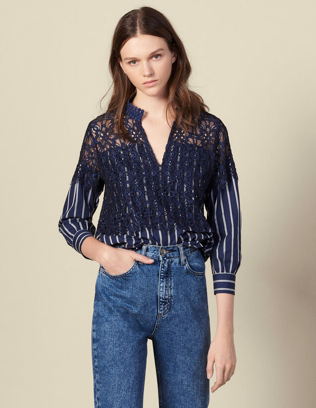 Striped Poplin And Lace Top : Tops color Navy Blue