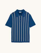Striped Knit Polo Shirt : T-shirts & Polo shirts color Blue