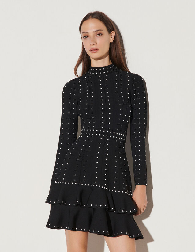 Short Knit Dress With Rhinestones : Dresses color Black