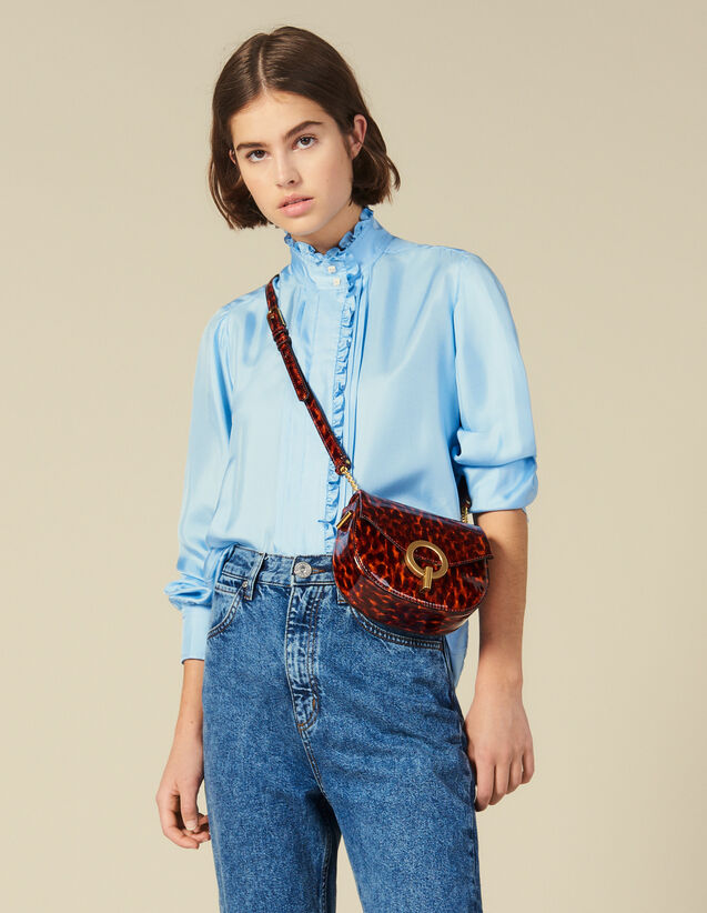 Silk Shirt Edged With Ruffles : Shirts color Blue sky