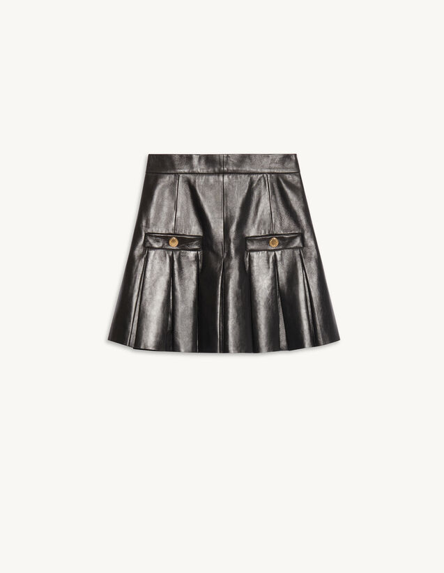 Pleated Short Leather Skirt : Skirts & Shorts color Black