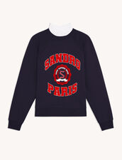 Sweatshirt With Trompe L'Oeil Collar : Sweaters & Cardigans color Navy Blue