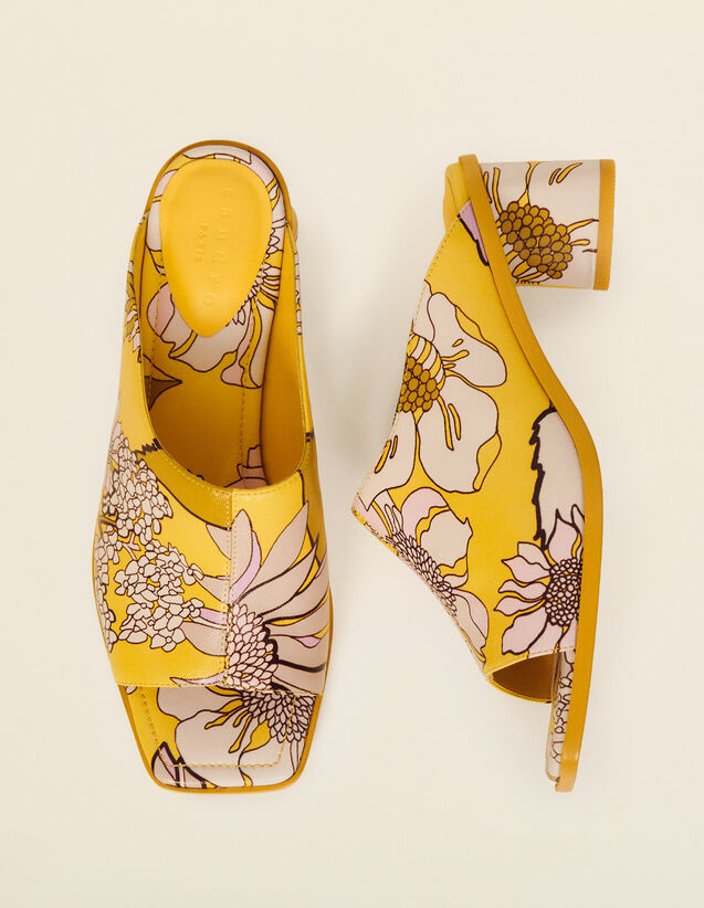 Printed Leather Mules : Shoes color Yellow / Lilac