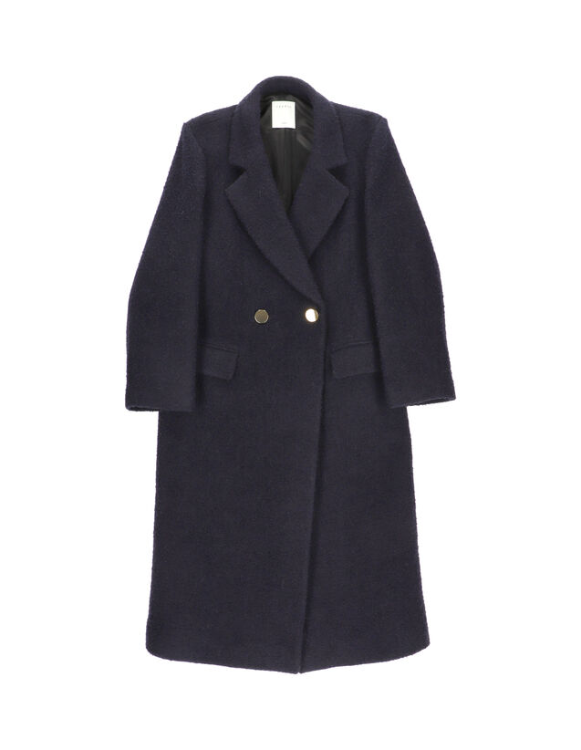Long Coat With Tailored Collar : Coats color Navy Blue