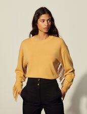 Wool And Cashmere Sweater With Fringing : Sweaters & Cardigans color Curry