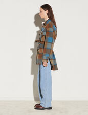 Checked Jacket With Belt : Coats color Brown / Petrol blue