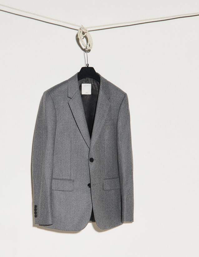 Flannel Suit Jacket : Suits & Tuxedos color Grey