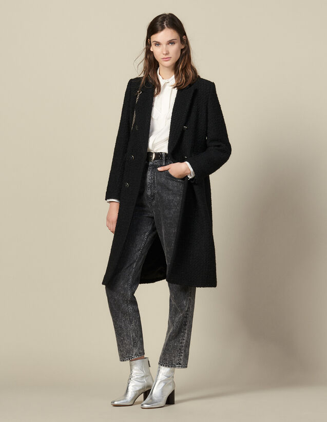 Long Fitted Tweed Coat : Coats color Black