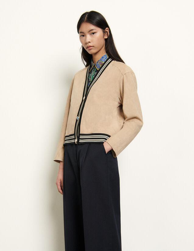 Cardigan-Style Jacket : Blazer & Jacket color Camel