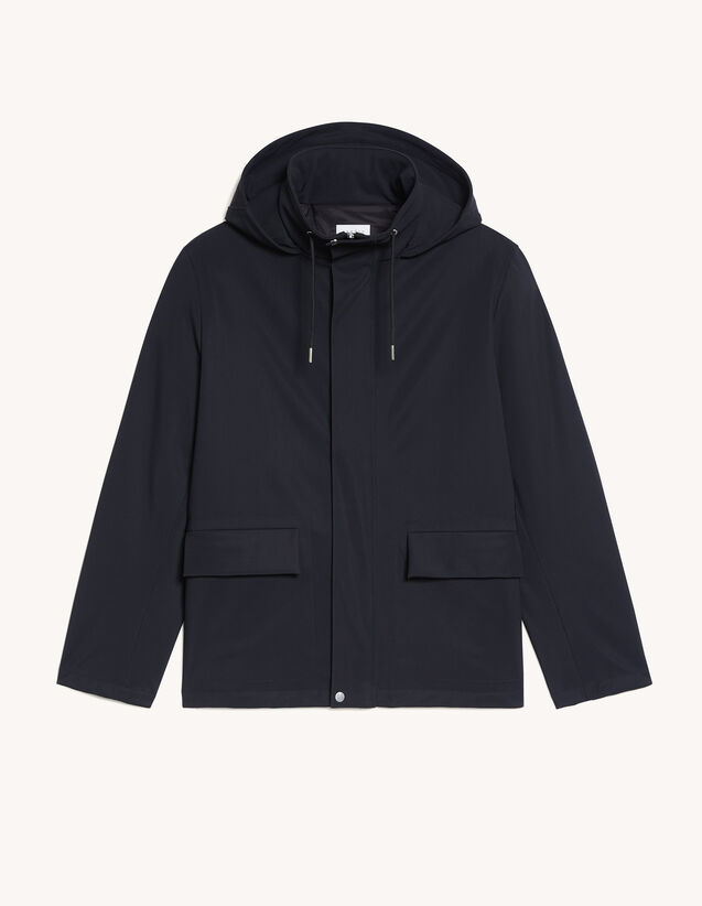 Hooded Parka : Trench coats & Coats color Black