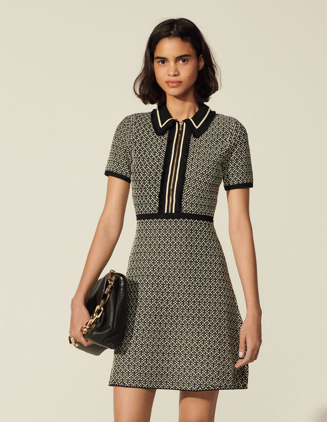 Short Knitted Dress : Dresses color Black / White