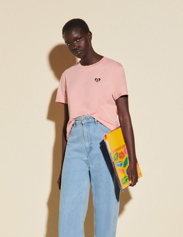 T-Shirt With Embroidered Patch : T-shirts color Pink
