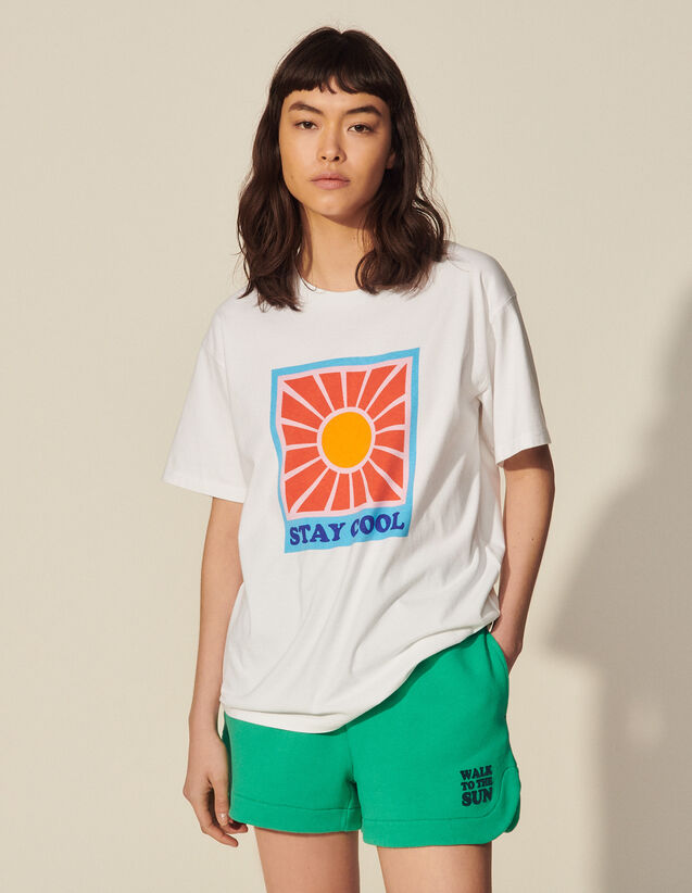 Printed T-Shirt In Organic Cotton : T-shirts color white