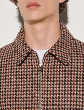 Houndstooth Wool Jacket : Trench coats & Coats color Beige