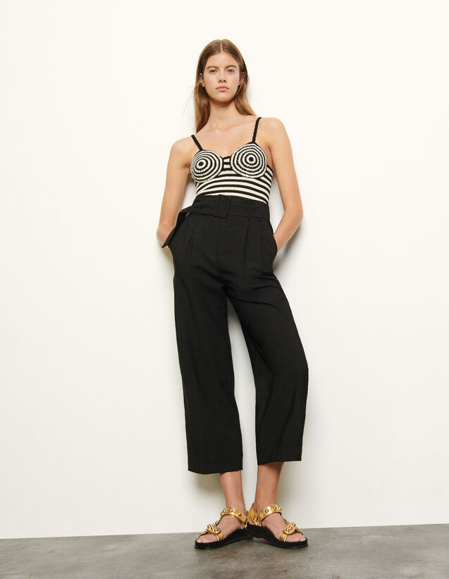 High-Waisted Trousers With Belt : Pants color Black