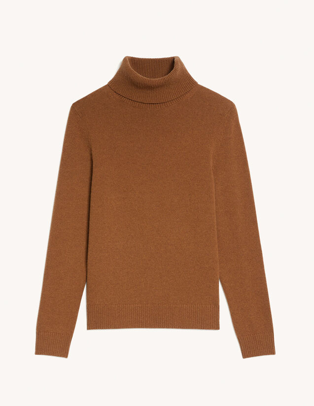 Roll Neck Wool And Cashmere Sweater : Sweaters & Cardigans color Camel