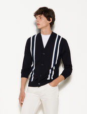 Cardigan With Contrasting Stripes : Sweaters & Cardigans color Navy Blue