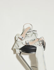 Embossed Crocodile Leather Sandals : Shoes color Silver