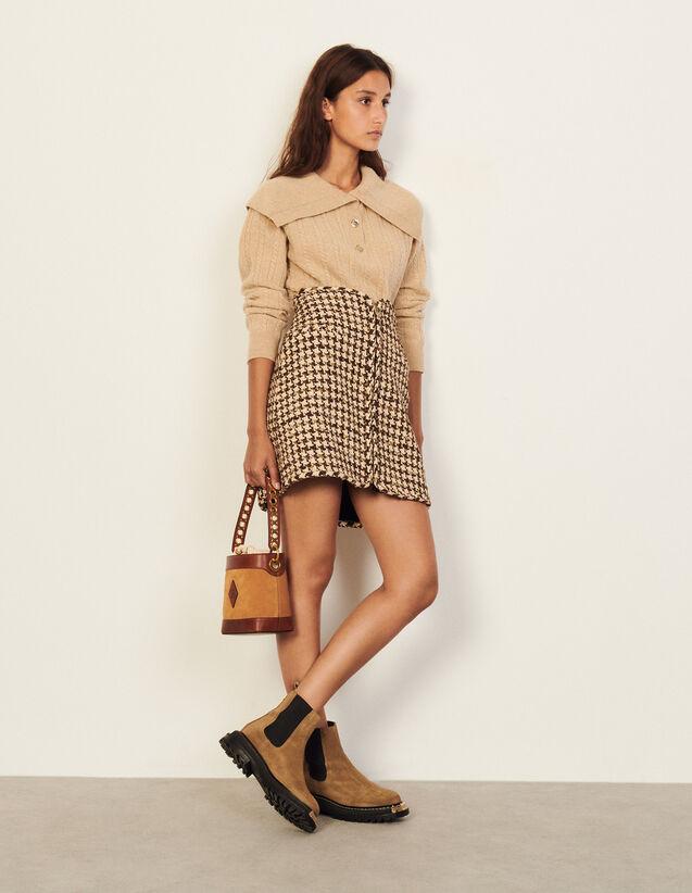 Short Houndstooth Skirt : Skirts & Shorts color Brown - beige