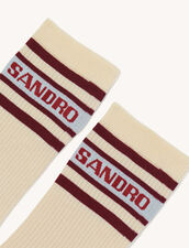 Socks With Contrasting Stripes : Other accessories color Light beige / Burgundy