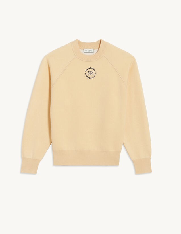 Knit Sweatshirt With Embroidery : Sweaters & Cardigans color white