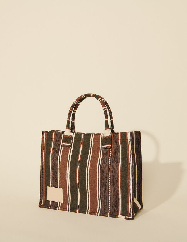 Tote Bag In Striped Canvas : My Addict Bag color Brown