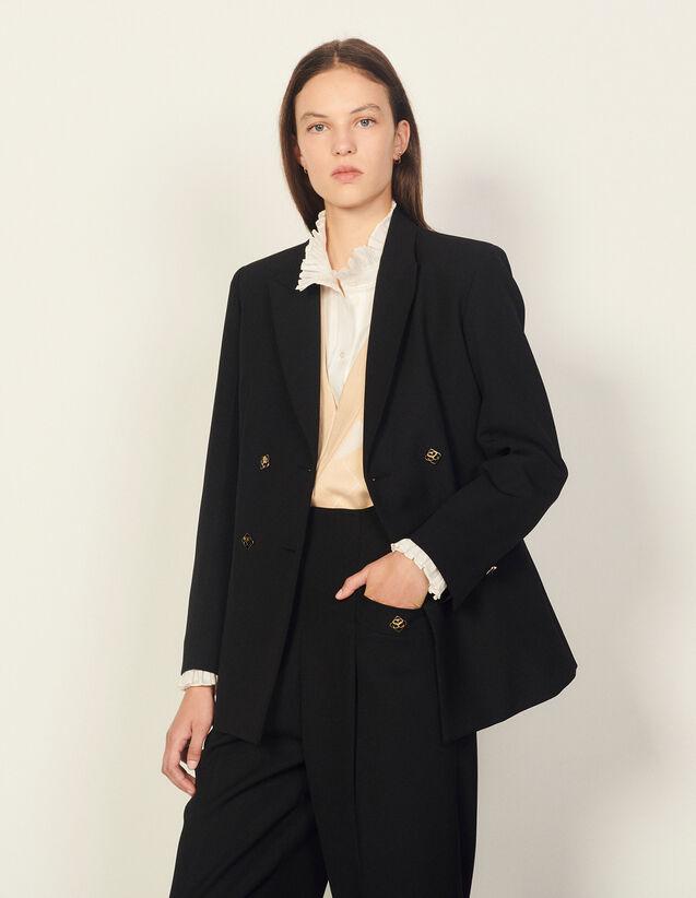 Double-Breasted Suit Jacket : Blazer & Jacket color Black