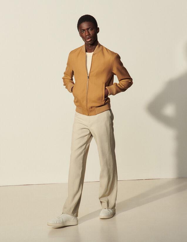Zipped Bomber Jacket : Coats & Jackets color Camel