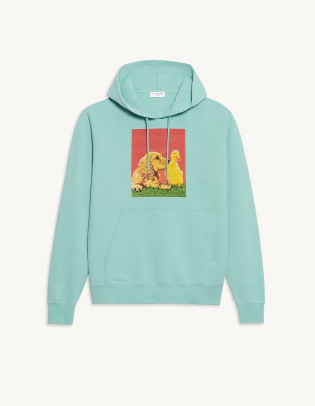 Cotton Hoodie With Artwork : Sweatshirts color Light Green