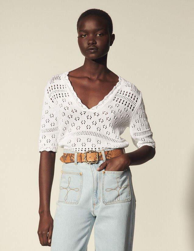 Short-Sleeved Fancy Knit Sweater : Shirts color white