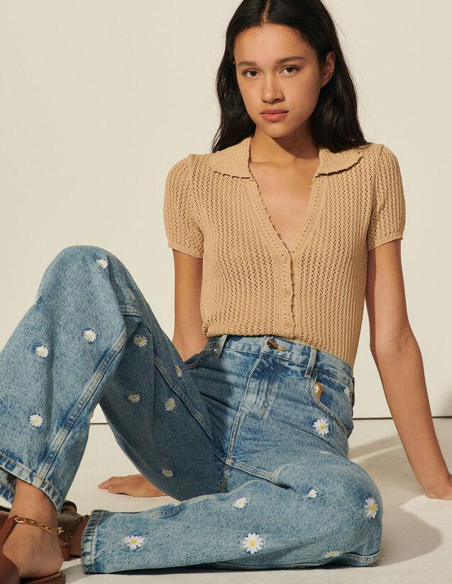 Crochet Shirt Cardigan : Sweaters & Cardigans color Sand