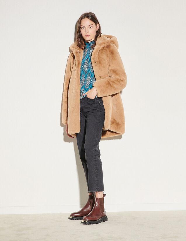 Faux Fur Coat : Coats color Navy Blue