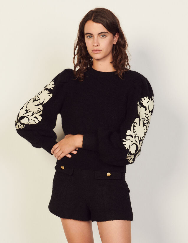 Sweater With Embroidery On The Sleeves : Tops color Black