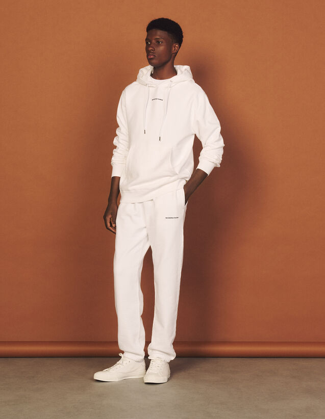 Joggers With Sandro Paris Embroidery : Pants & Shorts color white
