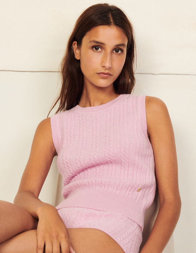 Sleeveless Wool Sweater : Sweaters & Cardigans color Pink