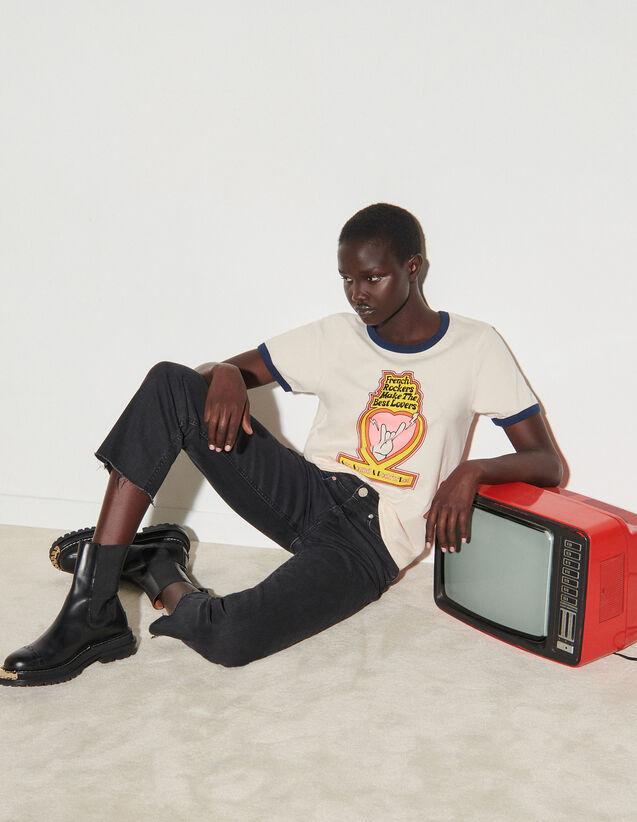 Printed T-Shirt : T-shirts color Light Beige