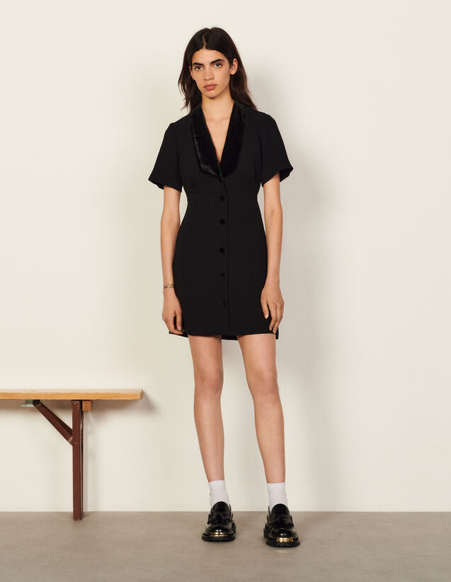 Short Dress With Shawl Neck : Dresses color Black