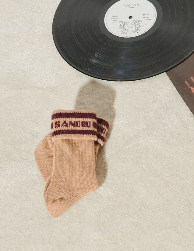 Socks With Sandro Logo : Other accessories color Camel
